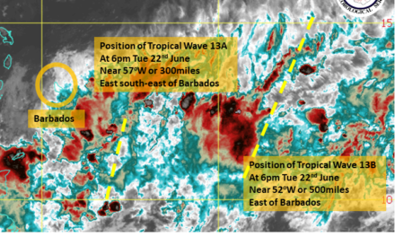 The system to the east of Barbados weakens