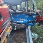 Three-vehicle collision at  Farley Hill